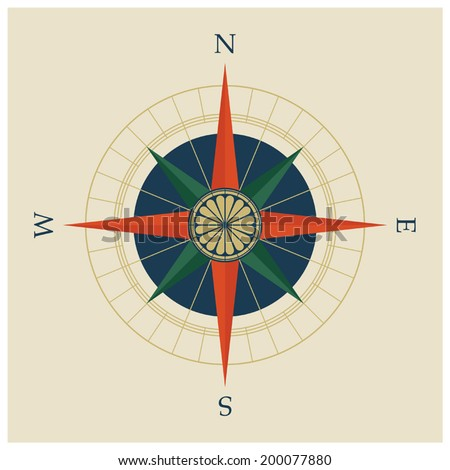 Vector illustration of compass rose or wind rose with compass points and cardinal wind directions - stock vector