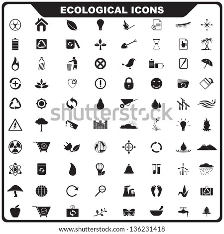 vector illustration of complete set of ecological icon - stock vector