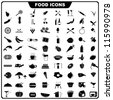 vector illustration of complete set of food icon - stock vector