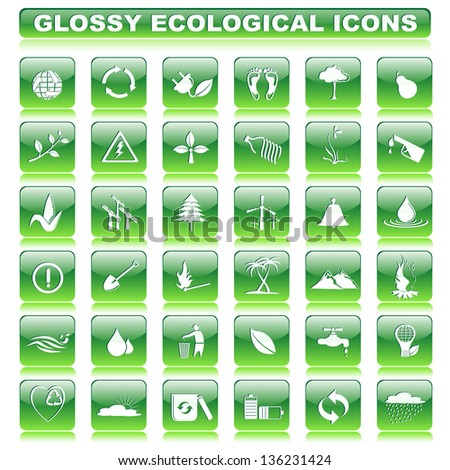 vector illustration of complete set of glossy ecological button - stock vector