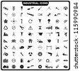 vector illustration of complete set of industrial icon - stock vector