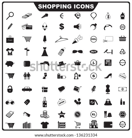 vector illustration of complete set of shopping icon - stock vector