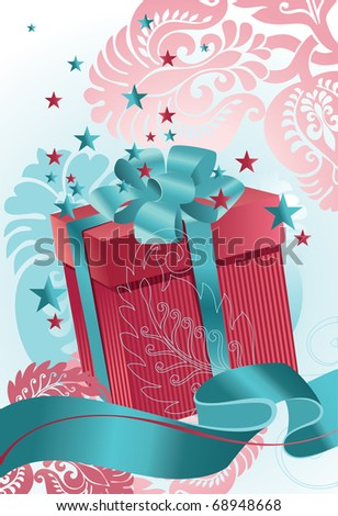 Vector illustration of composition contains box, ribbon and floral ornament.