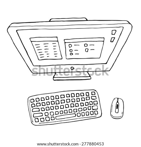 Vector illustration of computer. Black and white