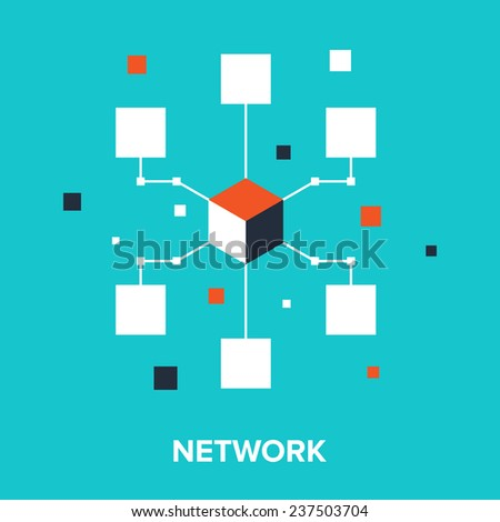 Vector illustration of computer network flat design concept. - stock vector