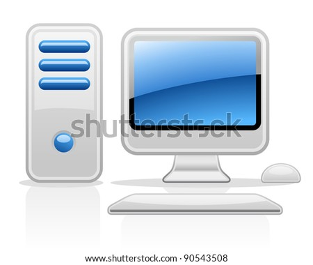 Vector illustration of computer on white background