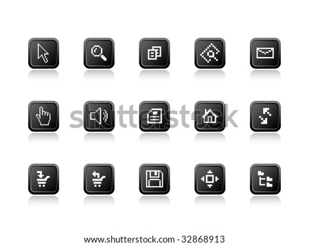 Vector illustration of computer pixel icons. - stock vector