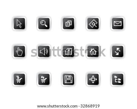 Vector illustration of computer pixel icons.