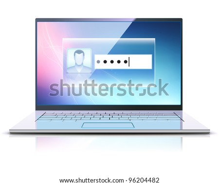 Vector illustration of computer security concept with locked modern laptop - stock vector