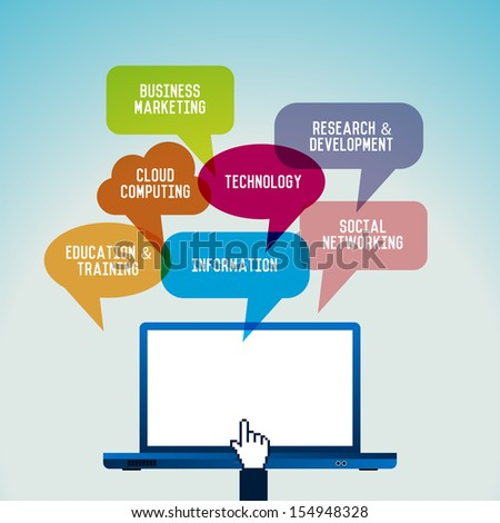 Vector illustration of computer technology concept theme, with laptop and talk bubbles. - stock vector