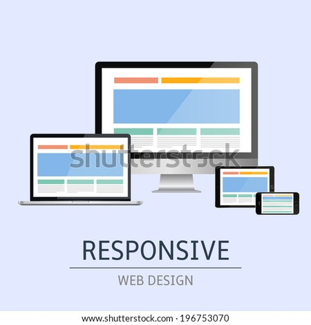 Vector illustration of concept responsive web design on blue background - stock vector