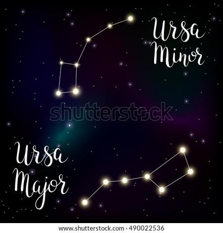 Constellations Ursa Major And Minor Vector Illustra...