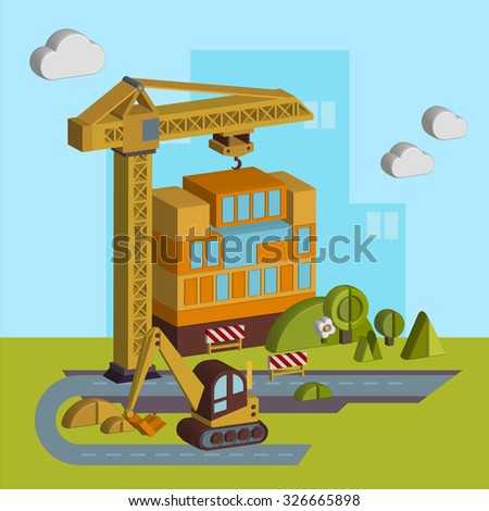 Vector illustration of construction of a building in a Flat Style Design for creative design projects. - stock vector