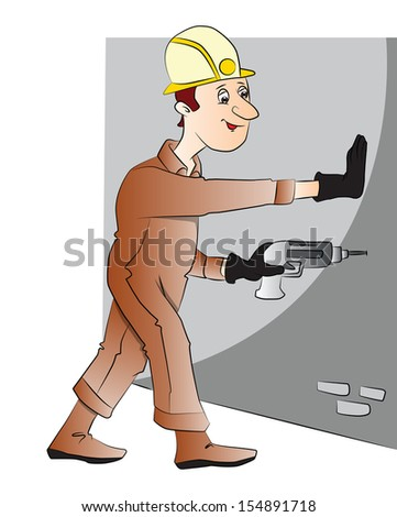 Vector illustration of construction worker drilling the wall with electric drill. - stock vector