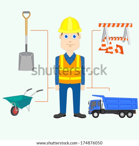 vector illustration of constructor with equipment and tool - stock vector