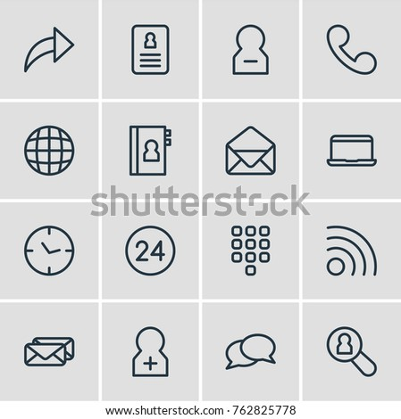 Vector Illustration Of 16 Contact Outline Icons. Editable Set Of Network, World, Publish And Other Elements.