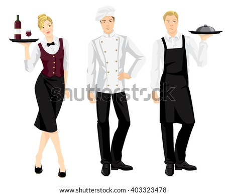 Vector illustration of cook chef and waitress in formal clothes isolated on white background. - stock vector