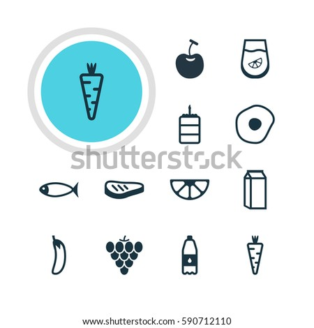 Vector Illustration Of 12 Cooking Icons. Editable Pack Of Drink Bottle, Lime, Veggie And Other Elements.