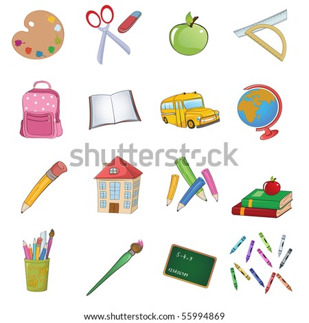 Vector illustration of cool Back to school icons set - stock vector