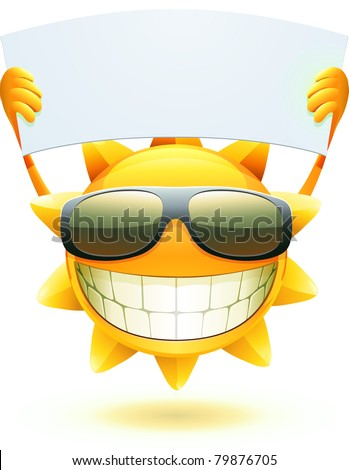 Vector illustration of cool cartoon happy summer sun in sunglasses with blank banner - stock vector