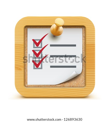 Vector illustration of cool check list with push pin on the cork bulletin board with wood frame - stock vector