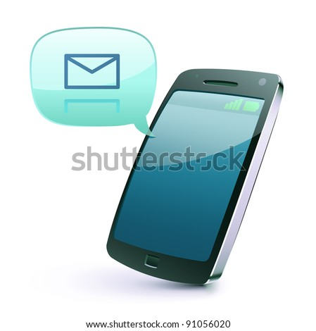 Vector illustration of cool detailed cellphone icon isolated on white background. - stock vector