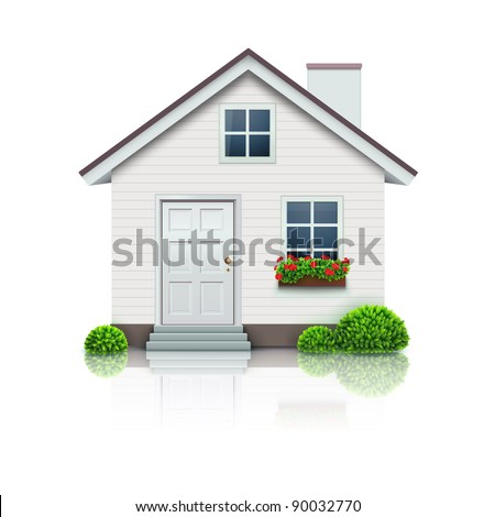 Vector illustration of cool detailed house icon isolated on white background. - stock vector