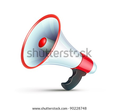 Vector illustration of cool detailed megaphone icon isolated on white background. - stock vector