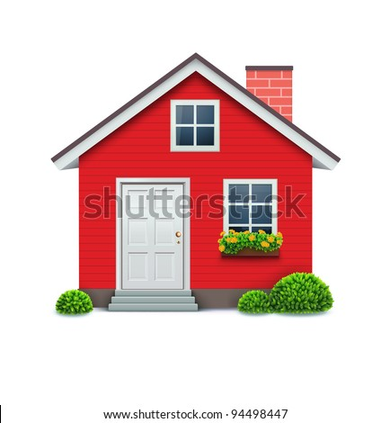 Vector illustration of cool detailed red house icon isolated on white background. - stock vector