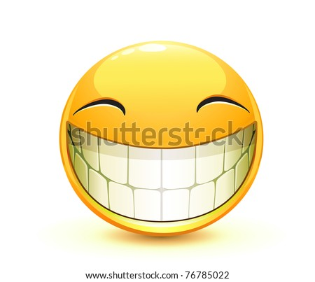 Vector illustration of cool glossy Single Emoticon - stock vector