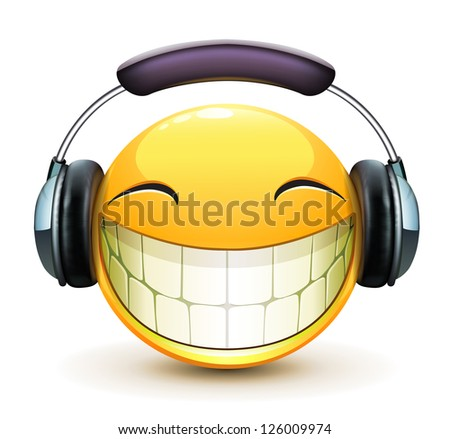 Vector illustration of cool glossy single musical emoticon with detailed headphones - stock vector