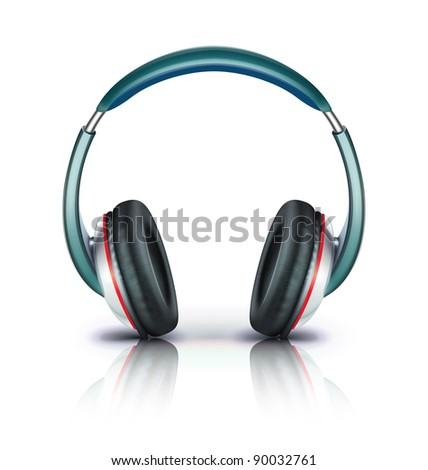 Vector illustration of cool headphones icon isolated on white background. - stock vector