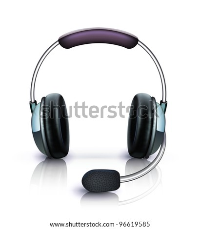 Vector illustration of cool headphones with microphone icon isolated on white background - stock vector