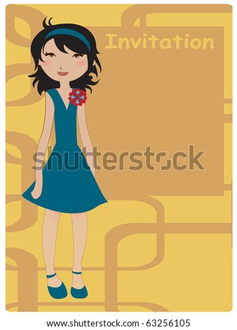 Vector Illustration of cool invitation frame with funky Young girl - stock vector