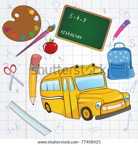 Vector illustration of cool school icons on the funky hand-drawing style background - stock vector