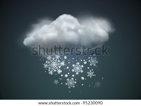 Vector illustration of cool single weather icon - cloud with snow in the dark sky - stock vector