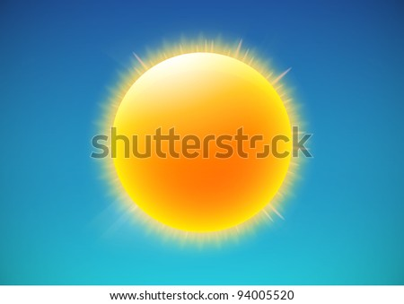 Vector illustration of cool single weather icon - shiny sun in the blue sky - stock vector