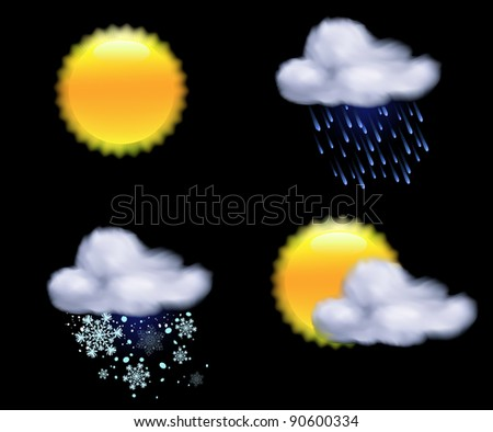 Vector illustration of cool weather icons - stock vector