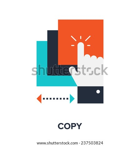 Vector illustration of copy flat design concept. - stock vector