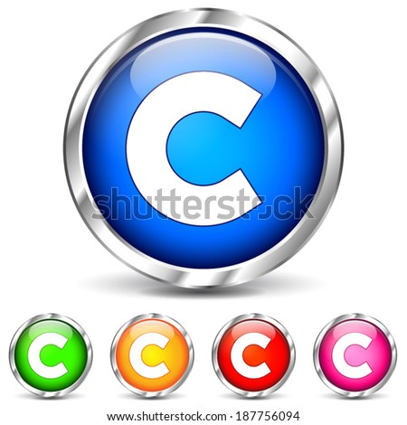 Vector illustration of copyright chrome icons on white background