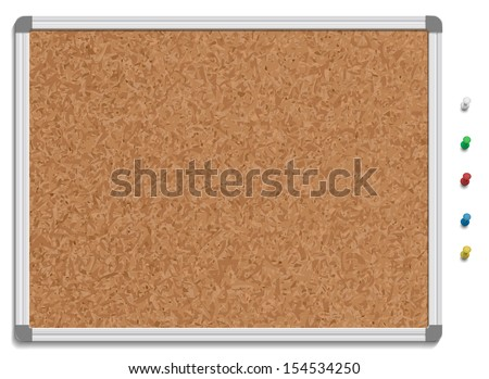 Vector illustration of corkboard with colored pins. - stock vector