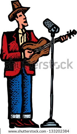 Vector illustration of country singer