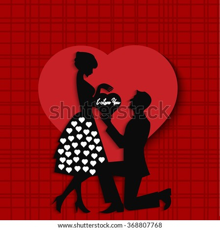 Vector illustration of couple, boy proposing girl  design for valentine day.