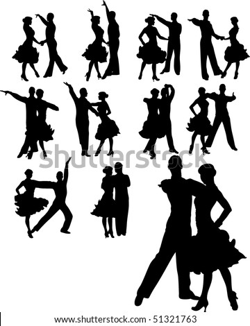 vector illustration of couple dancing set - stock vector