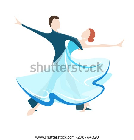 Vector illustration of couple dancing social dance - stock vector