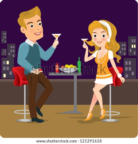 vector illustration of couple enjoying drink in party - stock vector