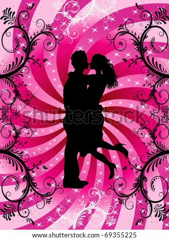 Vector Illustration of couple kissing on Valentine Background with hearts and scrolls.