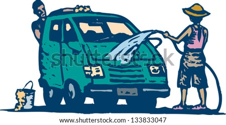 Vector illustration of couple washing car or van