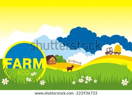 vector illustration of cow grazing in grass land with hut in background