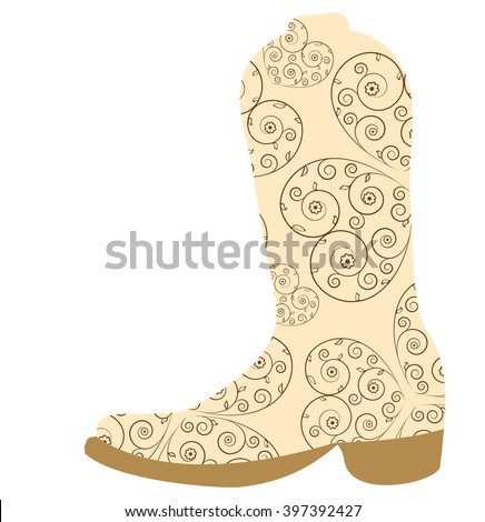 Vector illustration of cowboy boot. Cowboy boot icon